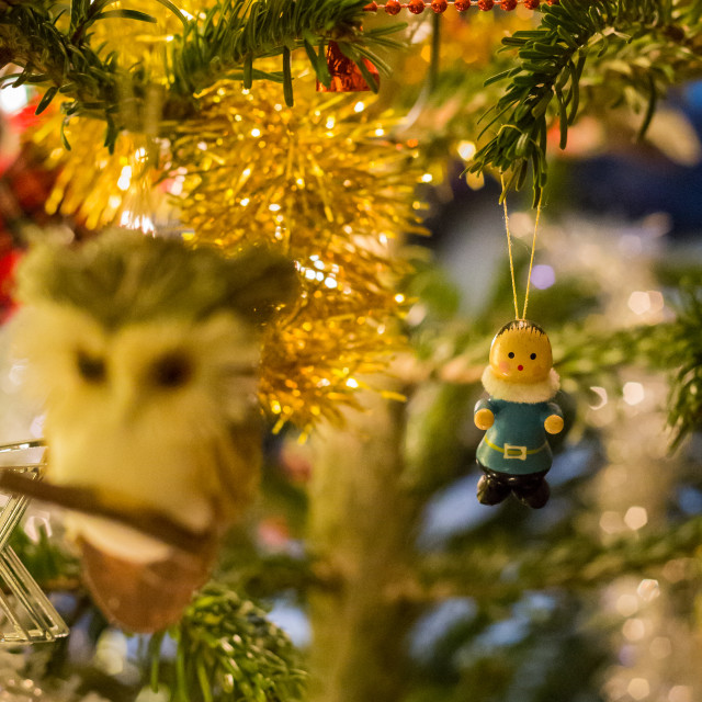 """Christmas Tree Decorations - Wooden figure toy"" stock image"