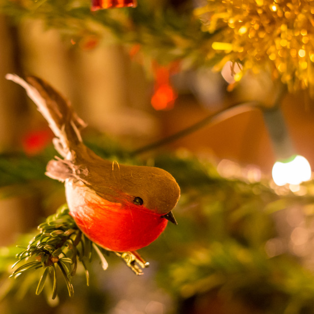 """Christmas Tree Decorations - Robin bird"" stock image"