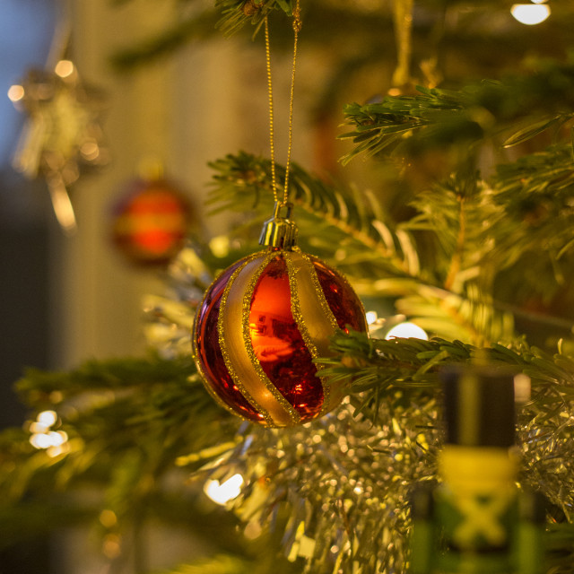 """Christmas Tree Decorations - Ruby red bauble"" stock image"