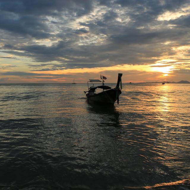 """""""Boat at sunset, Ao Nang"""" stock image"""