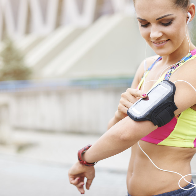 """""""This gadget is very helpful while jogging"""" stock image"""