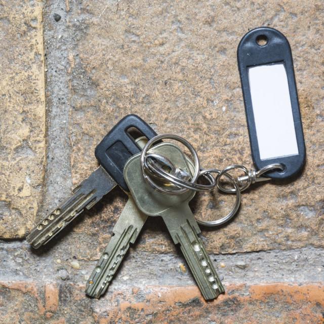 """plastic keychain on the floor"" stock image"