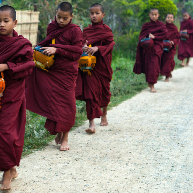 """Burmese Monks & Novices Collecting Alms"" stock image"