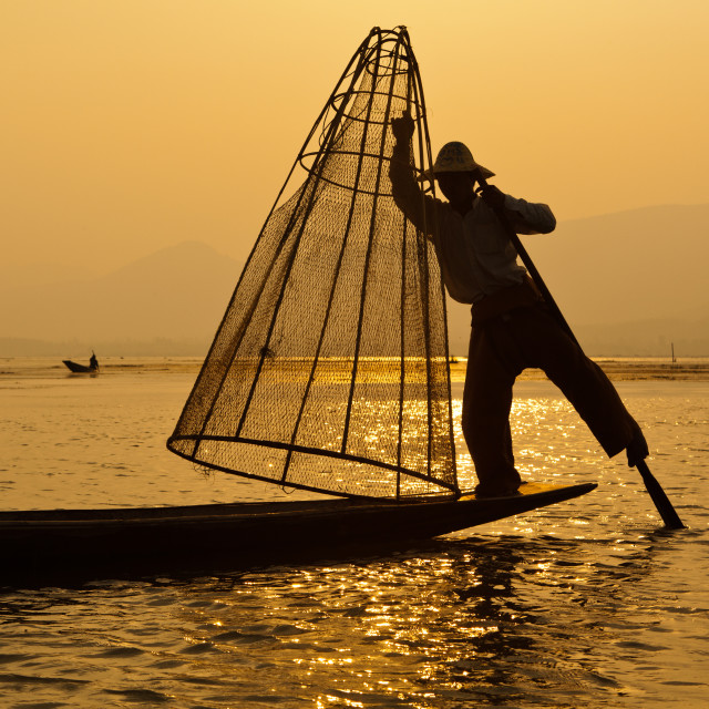 """Intha Fisherman on Inle Lake"" stock image"