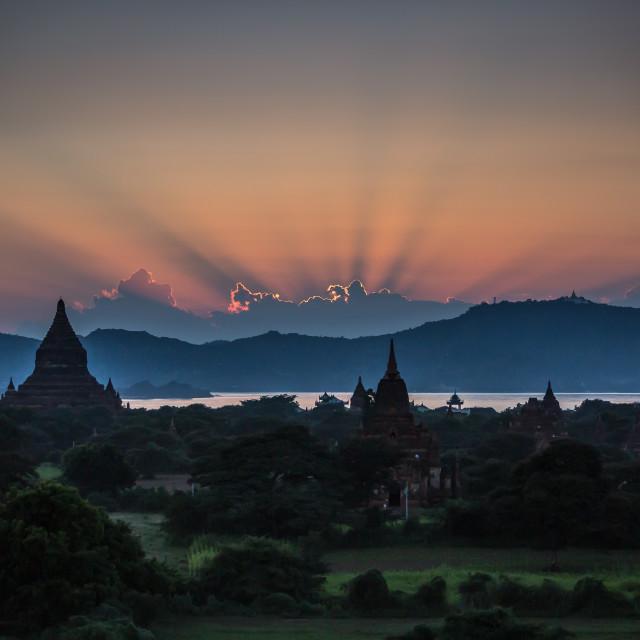 """""""Sunset at Bagan, Myanmar"""" stock image"""