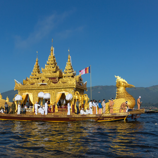 """The Royal barge on Inlay lake"" stock image"