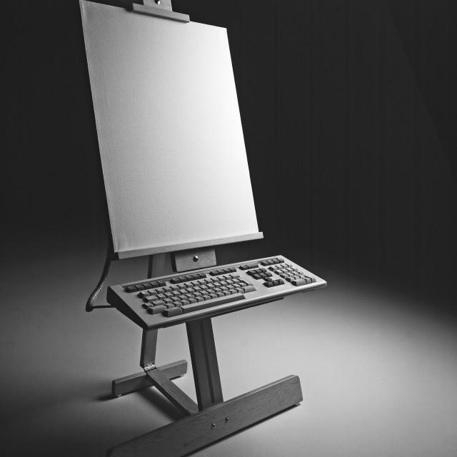 """Easel and keyboard"" stock image"
