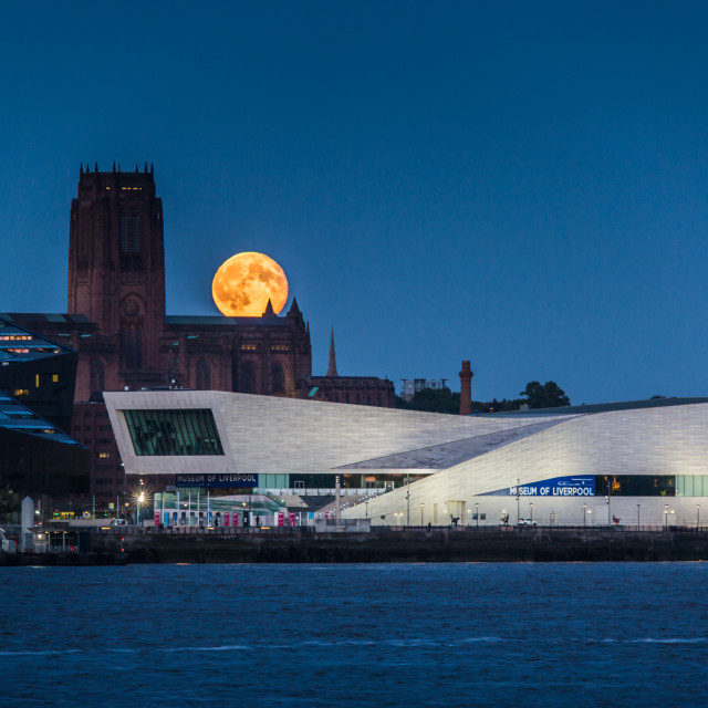 """Moonrise Liverpool"" stock image"