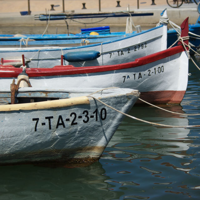 """Moored boats, L'ampolla, Catalonia, Spain"" stock image"