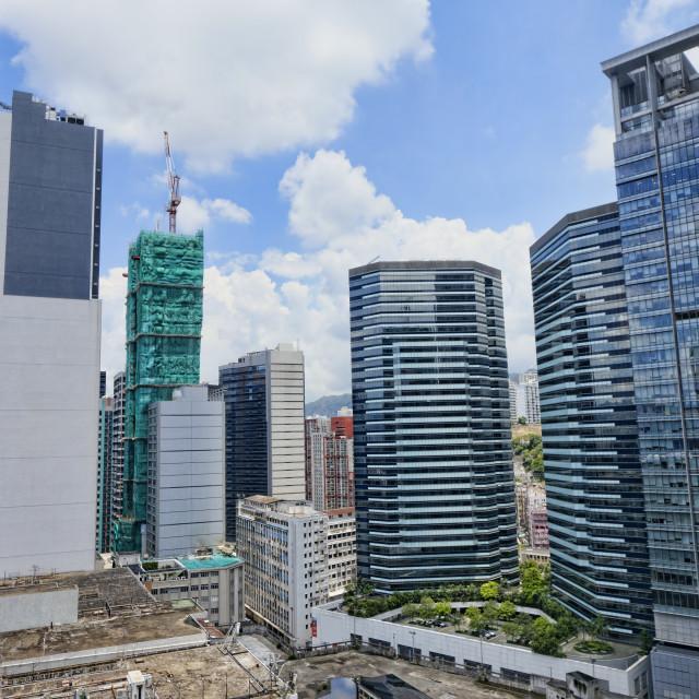 """""""office buildings at day, hongkong kwun tong"""" stock image"""