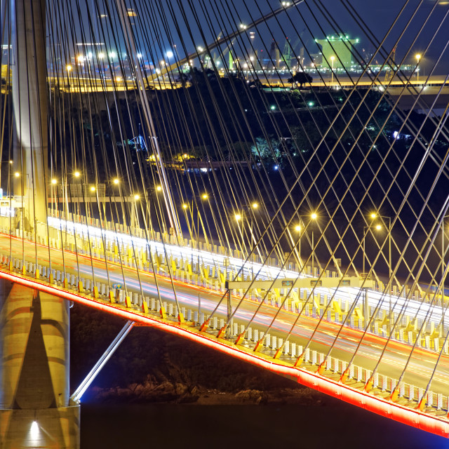 """""""highway bridge at night with traces of light traffic"""" stock image"""
