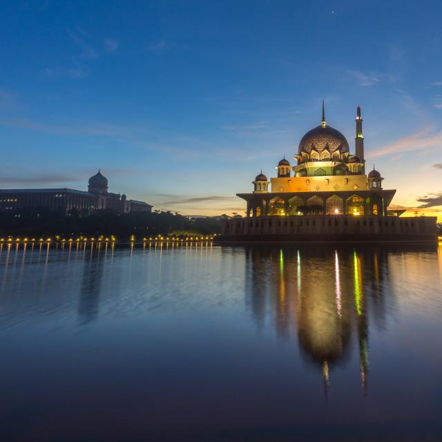 """Sunrise At Putra Mosque, Putrajaya Malaysia"" stock image"