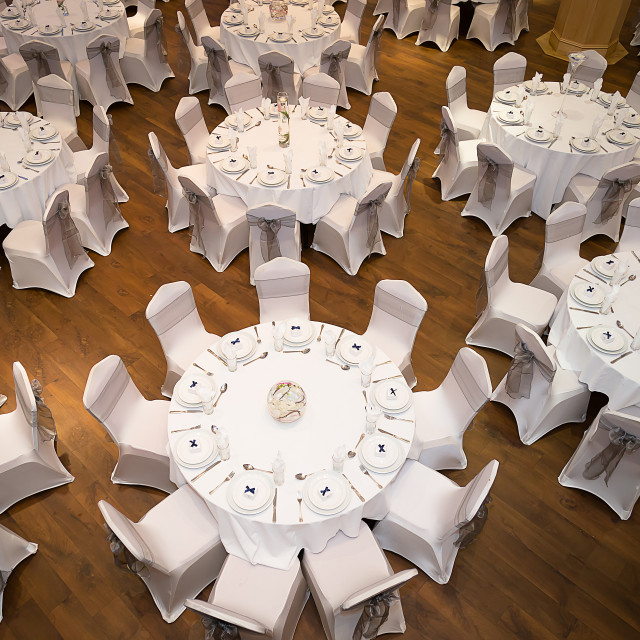 """Banqueting tables"" stock image"