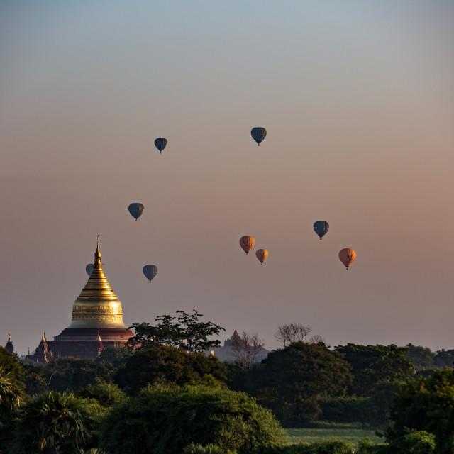 """Pagoda and balloons"" stock image"