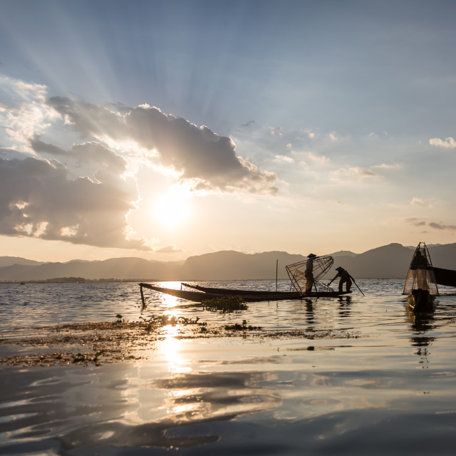 """Fishermen on the Inlay lake, Myanmar"" stock image"