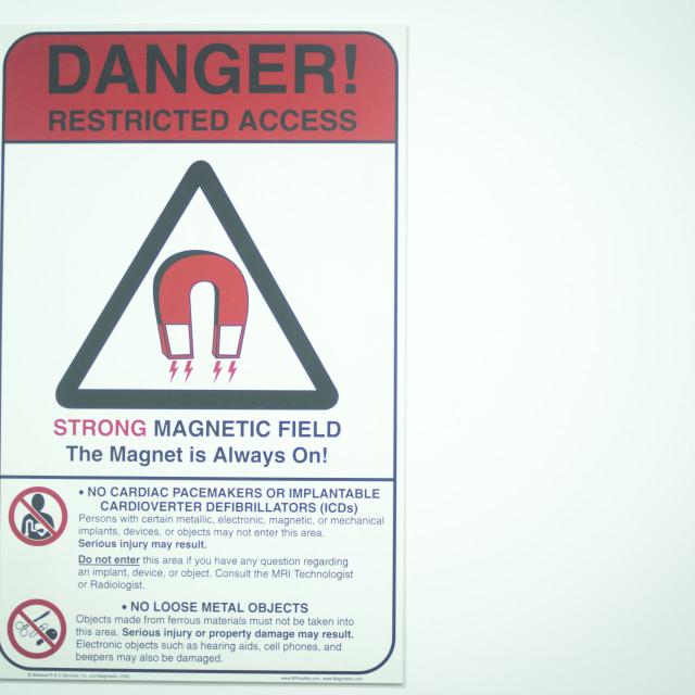 """""""MRI Magnetic Resonance Imaging Scan warning"""" stock image"""