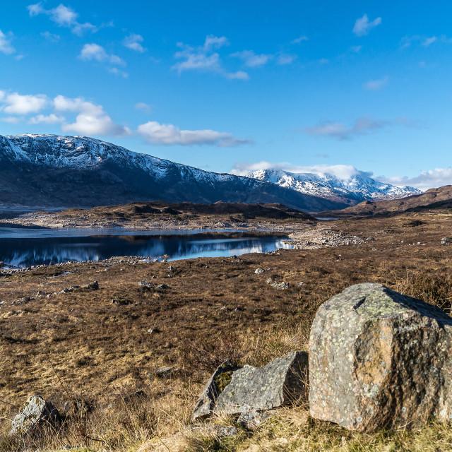 """""""Frozen Loch Cluanie, Scotland, Highlands"""" stock image"""