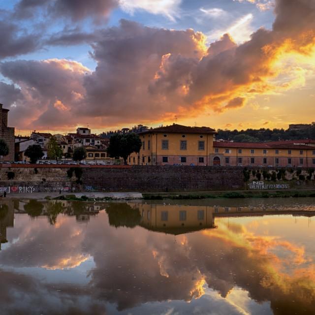 """Sunset on the Arno"" stock image"