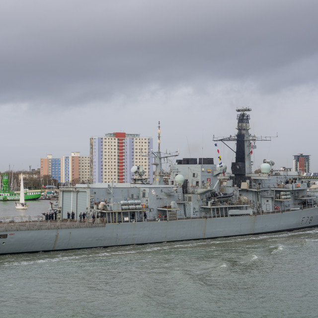 """HMS Kent in Portsmouth Harbour"" stock image"