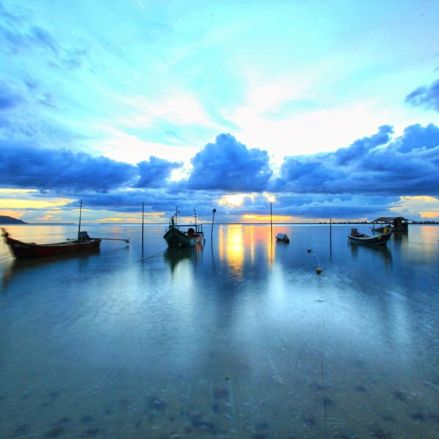 """Serenity sunset at fisherman village at Langkawi island Malaysia"" stock image"