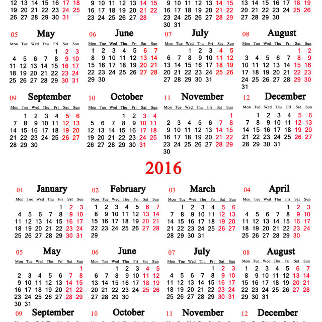 """""""calendar for 2015 and 2016 years"""" stock image"""