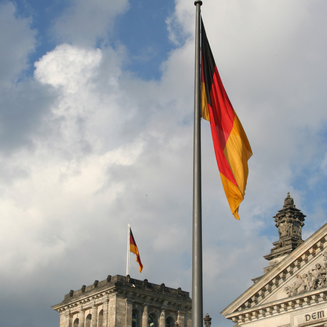 """German flag at Reichstag"" stock image"