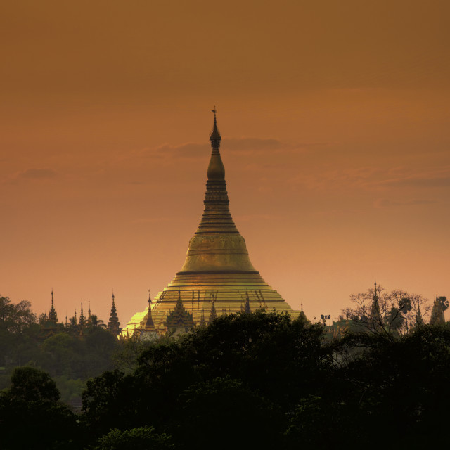 """Yangon at dusk"" stock image"