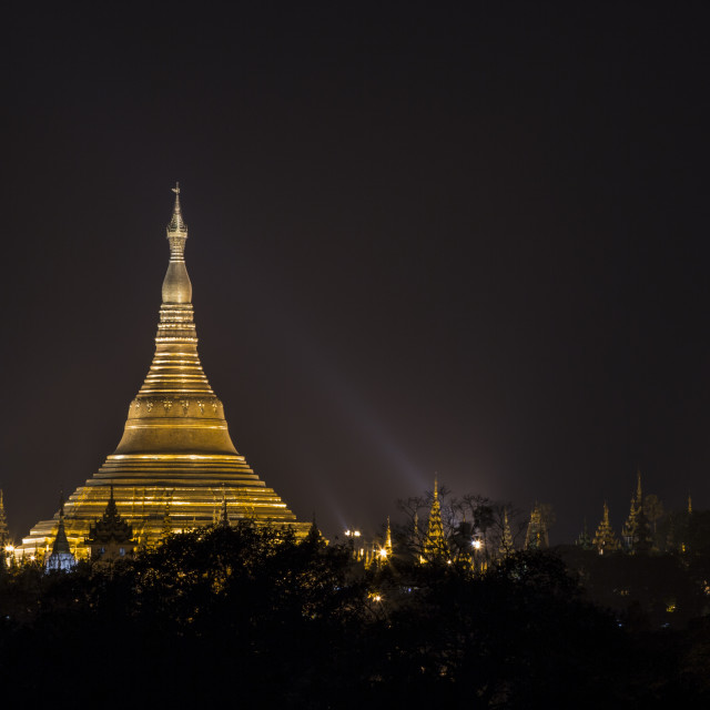 """Shwedagon Pagoda at night"" stock image"