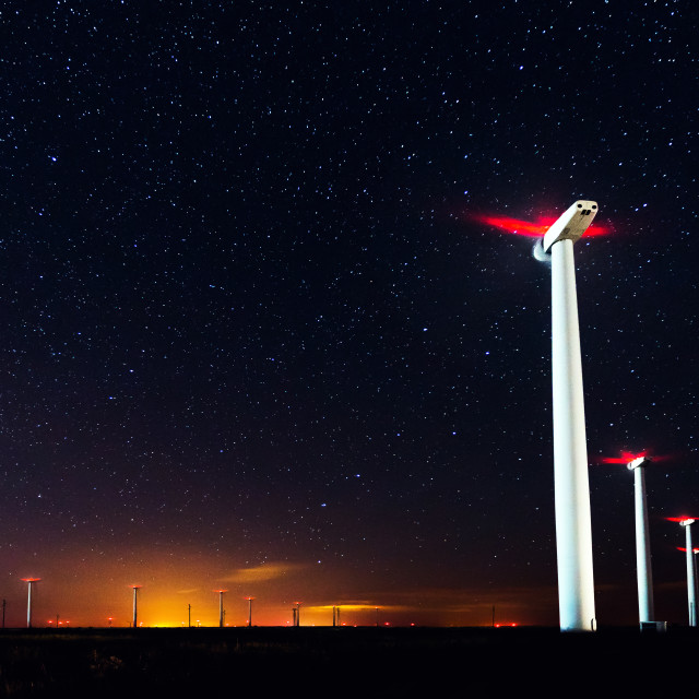 """Milky Way over the wind turbine"" stock image"