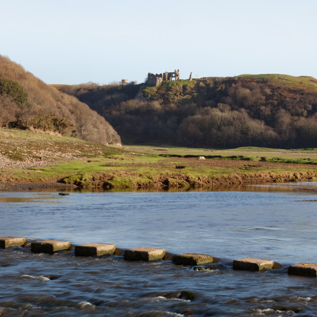 """""""Pennard Valley and Castle Gower"""" stock image"""