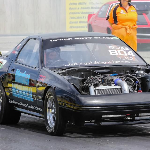 """Mazda RX7 drag racing"" stock image"