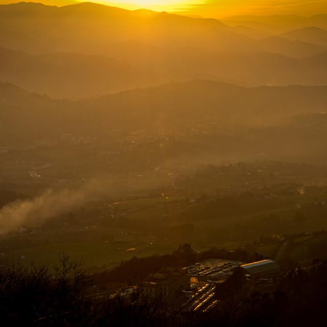 """Mountains Sunset."" stock image"