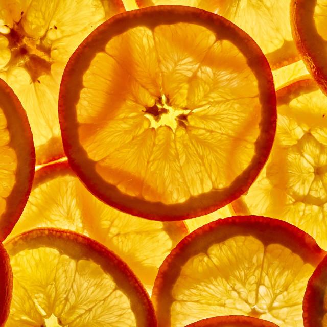"""Against the light orange slices top"" stock image"