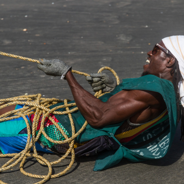 """Pulling A Fishing Net"" stock image"