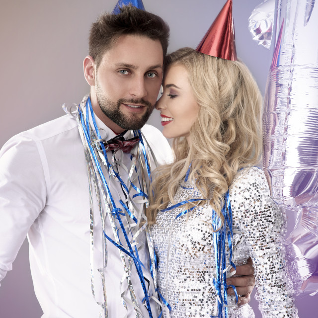 """""""Passionate couple on New Year's Eve"""" stock image"""