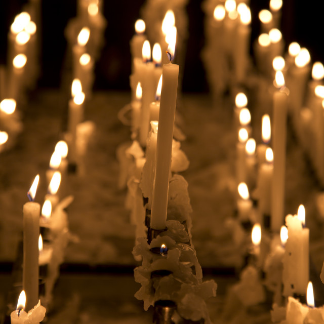 """""""Candles in the church"""" stock image"""