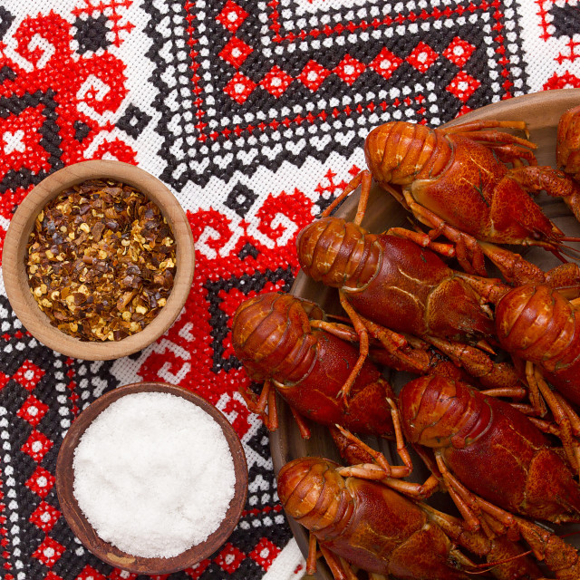"""""""Crayfish cooked for serving"""" stock image"""