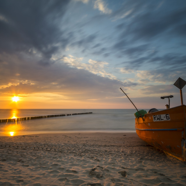 """fishing boat on the Baltic beach"" stock image"