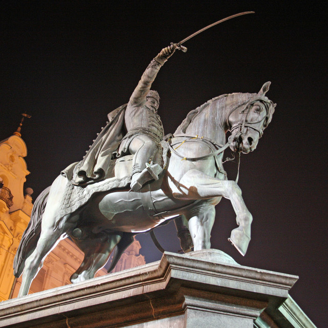 """Zagreb by night,4,Best European Advent Destination 2015,Ban Jelacic's monument at main square"" stock image"