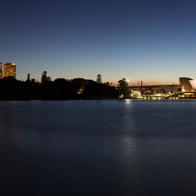 """Sydney Harbour and Opera House at Night"" stock image"