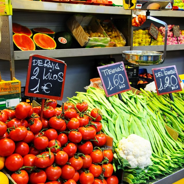 """Indoor market in Malaga, Spain"" stock image"
