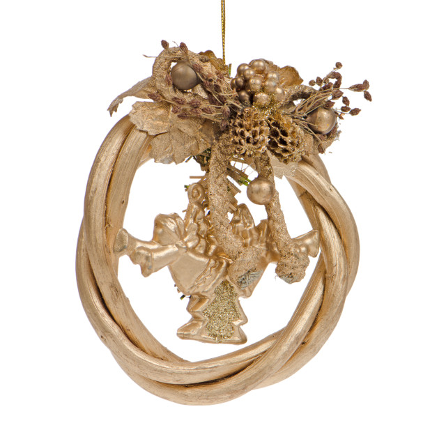 """A gold christmas wreath"" stock image"