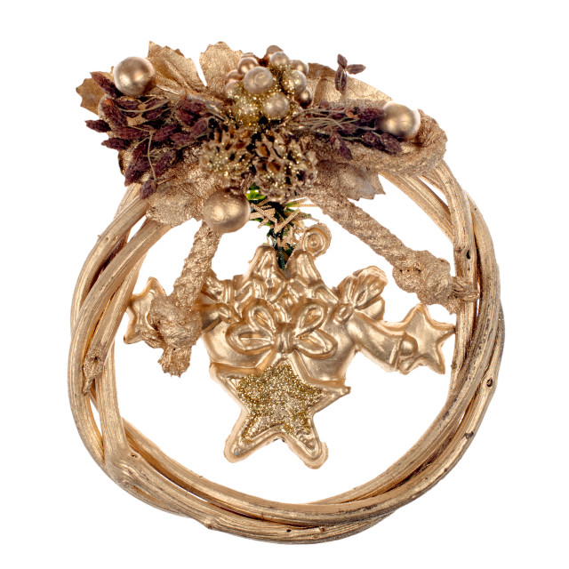 """""""A gold christmas wreath"""" stock image"""