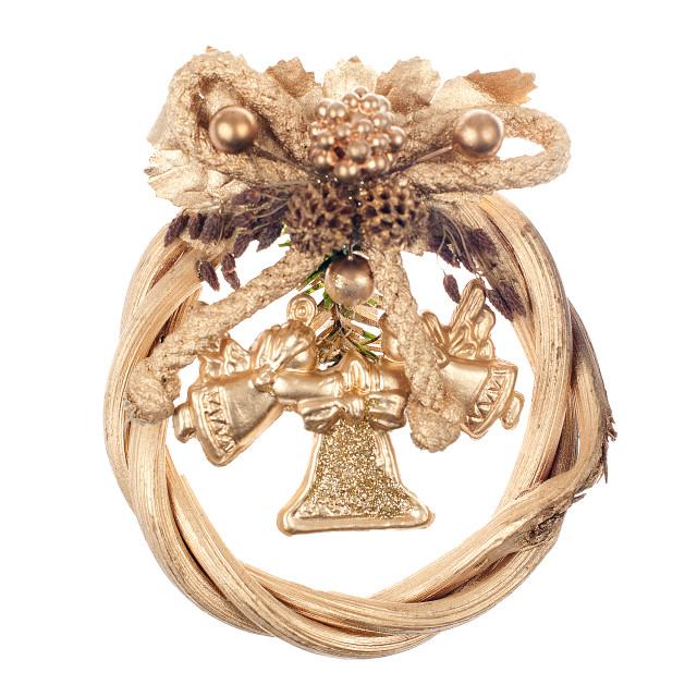 """Gold christmas wreath"" stock image"