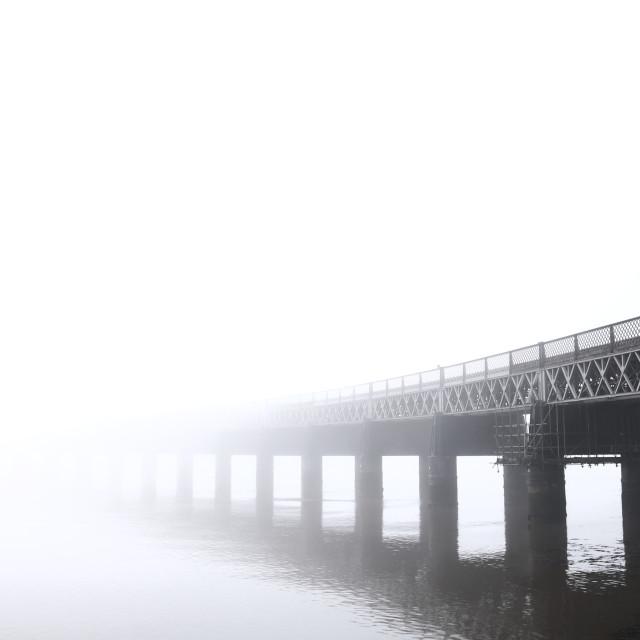 """Bridge into Fog"" stock image"