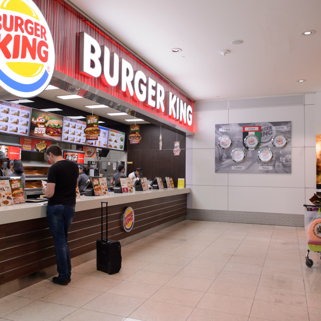 """Burger King restaurant interior"" stock image"