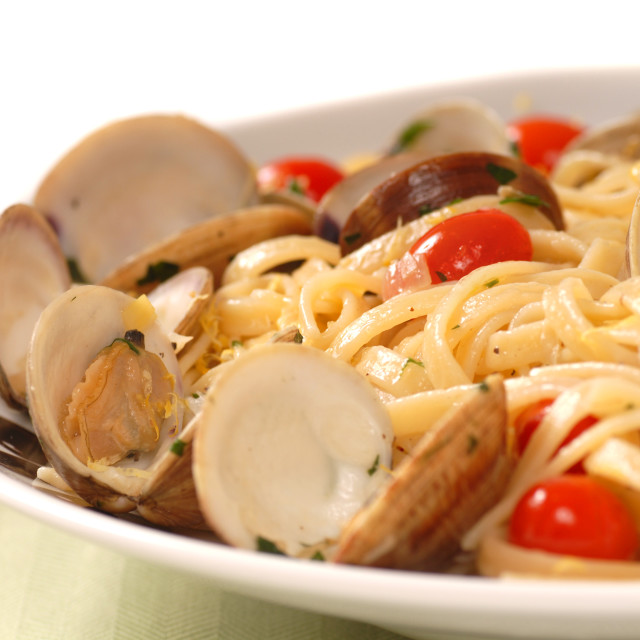 """""""Linguine and clam sauce"""" stock image"""
