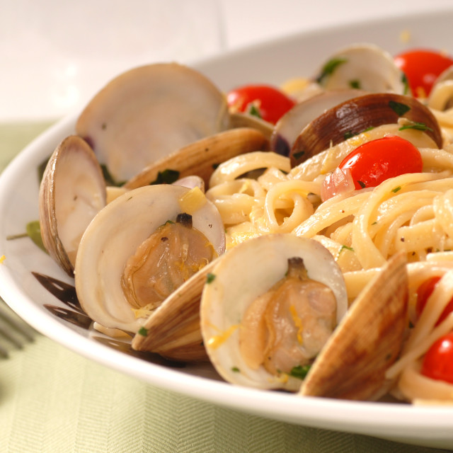 """""""Linguine with clam sauce"""" stock image"""