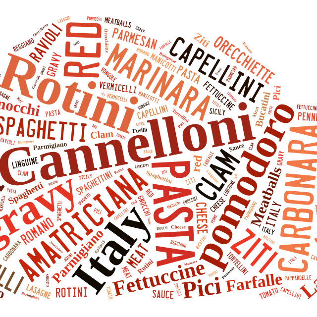 """Word Cloud showing words dealing with pasta and pasta sauces"" stock image"
