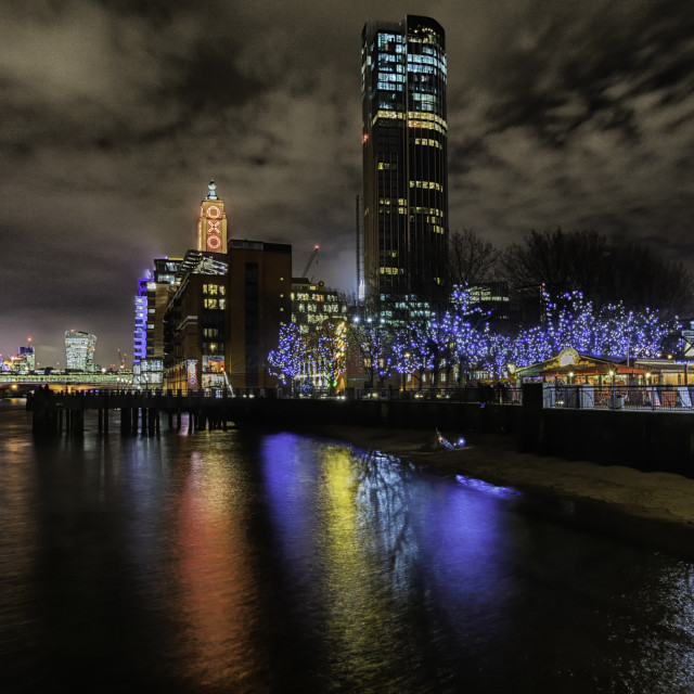 """Thames Nightscape - Oxo Tower Wharf"" stock image"